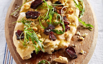 Feta, caramelised onion and biltong focaccia
