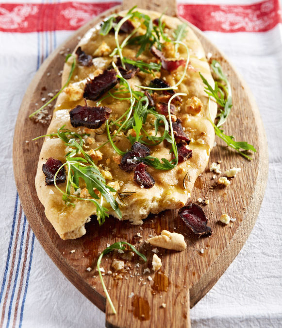 Feta, caramelised onion and biltong focaccia