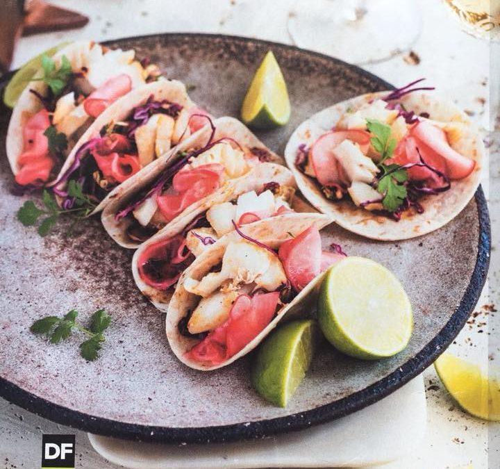 """Fish tacos with raddish """"kimchi"""""""