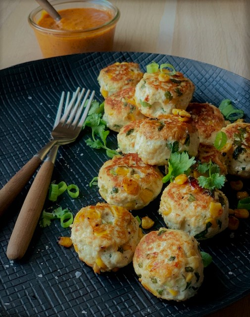Chicken and corn meatballs