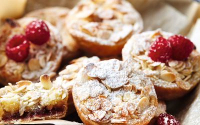 Raspberry and almond tartlets