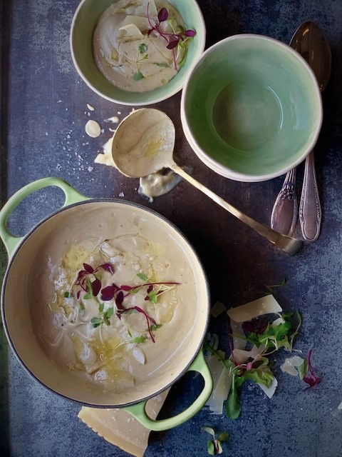 ROASTED CAULIFLOWER SOUP WITH TRUFFLE OIL AND PARMESAN