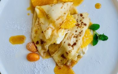 CREPES WITH PAN FRIED ORANGES AND HONEY WHIPPED MASCARPONE