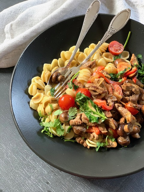 ORECCHIETTE WITH PAN FRIED BEEF STRIPS, MUSHROOMS AND PEPPERS