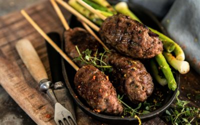LAMB KOFTAS WITH GRILLED LEEKS