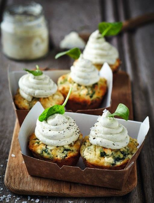 SPINACH AND FETA MUFFINS WITH TZATZIKI
