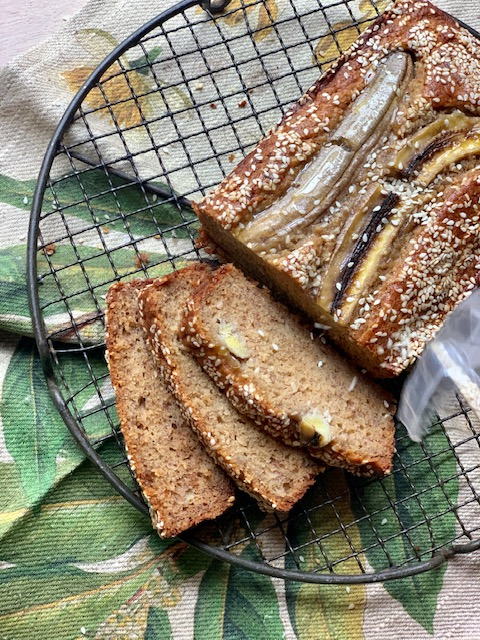 HONEY BANANA BREAD WITH TAHINI BUTTER