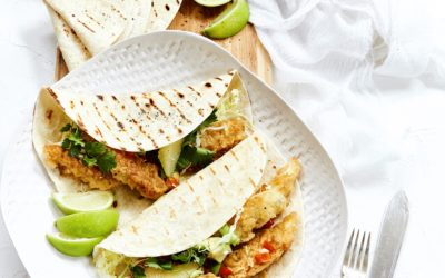 FISH TACOS WITH GRAPEFRUIT, RED PEPPER, AVO AND SPRING ONION SALSA