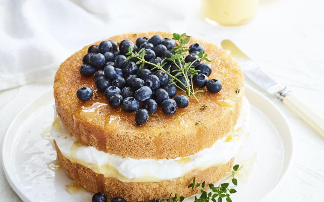 LEMON, THYME AND BLUEBERRY SPONGE CAKE