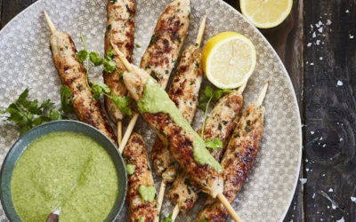 CHICKEN SEEKH KEBABS WITH MINT AND CORIANDER CHUTNEY