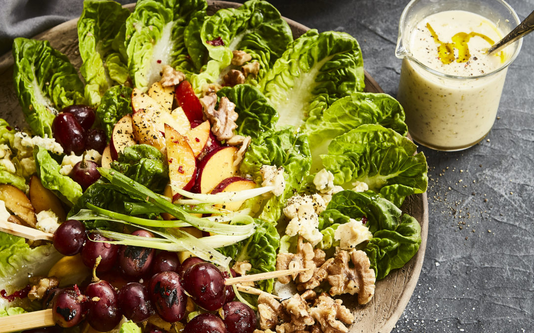 CHARGRILLED GRAPE, WALNUT AND GORGONZOLA SALAD