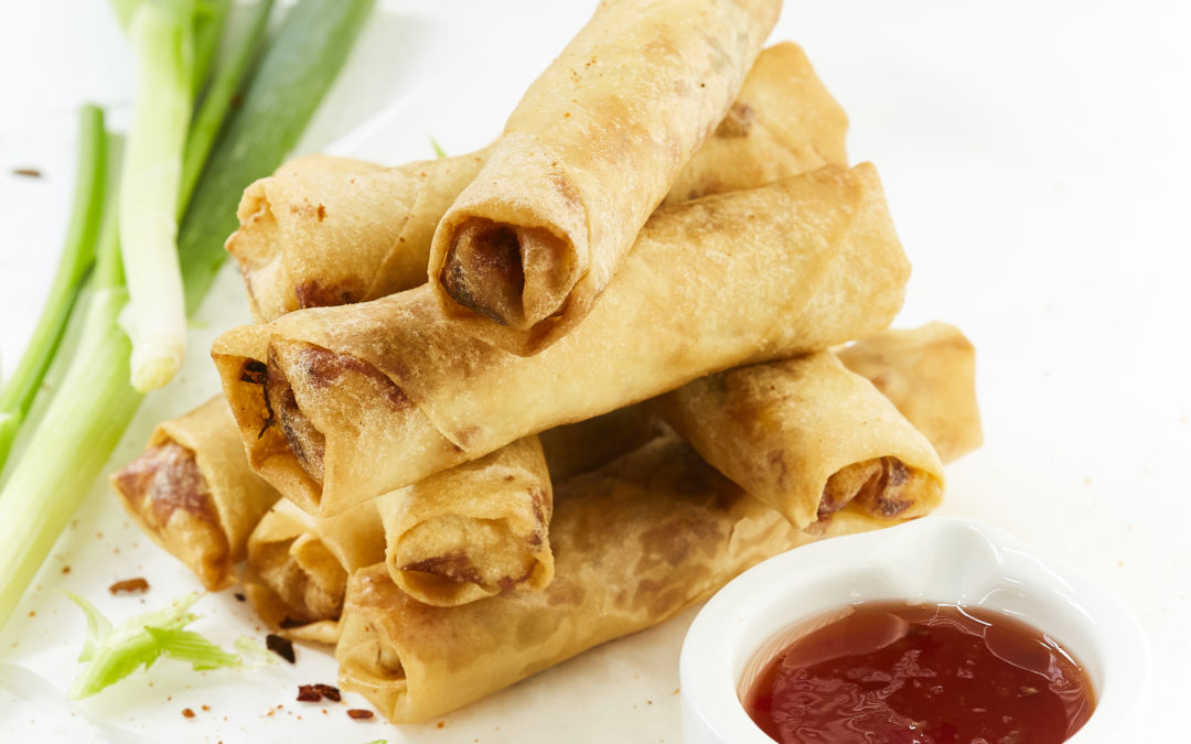 CHICKEN, CORN AND CHEESE SPRING ROLLS