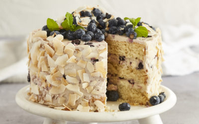 COCONUT, LIME AND ROASTED BLUEBERRY CAKE